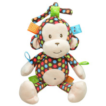 Baby Music Toys Animal Monkey Baby Rattles Mobile The Stroller for Infant Bed Soft Short Plush Stuffed Doll 32cm(China)