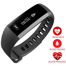 Smart Digital Wrist Watch Band Heart rate Blood Oxygen Pressure Sport Fitting Bracelet Watch intelligent For iOS Android black