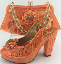 Top quality Italian ladies shoes and matching bag set,latest pattern  rhinestones shoes 10 com Size38-42  S16060221