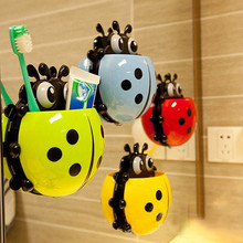 2017 New Toothpaste Dispenser Bathroom Accessories Lovely ladybug Toothbrush Holder Toothpaste Powerful Suction Kit Combination