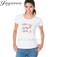 Ingoroo Brand Beautiful Rainbow Tee Shirt Unicorn Band Tee Japanese Anime Brand Tshirt Watercolo Camouflage Summer Shirts Women