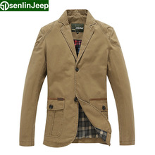 Senlin Jeep Brand Men's 100% Cotton Blazers Suits Male Spring Autumn Fashion Top Quality Jackets terno masculino jaqueta 8170