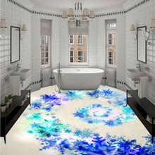 Free Shipping 3D stereo custom flooring Optional snowflake shopping mall painting floor stickers wallpaper mural(China)