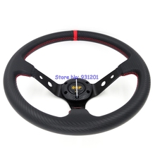 350mm OMP Racing Car Steering Wheel PVC Carbon Fiber Looking Deep Dish Racing Drifting Car Wheels