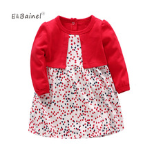 E&Bainel Baby Dresses Girl 1st Birthday Princess Dress Big Red Love Heart Christening Dress Vestidos Infantil Wedding Party Suit