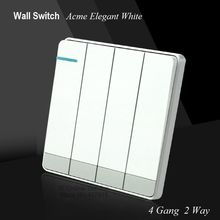 Large Panel acme elegant white Wall Switch Simple and Fashion Decoration Switch 4 Gang Double Control Light Switch 86mm*86mm(China)