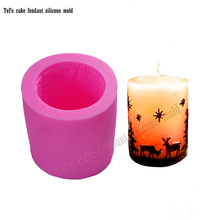 3D Cylinder-shaped Christmas snowflake Candle Mold Star Deer Tree pine Soap Mould Chocolate silicone molds cake tools F0786(China)