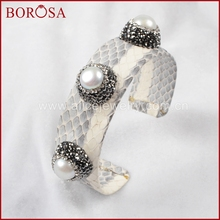 BOROSA Three Natural Pearl Bangle Wrapped With Rainbow Snake Skin Crystal Paved Zircon Women Pearl Bangles Design JAB366