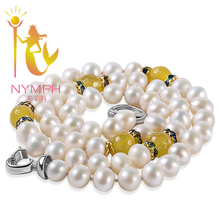 NYMPH Classic Pearl Necklace Natural Citrine Jewelry Trendy Freshwater Pearl Necklace Bijoux Women Birthday Party Gift(China)