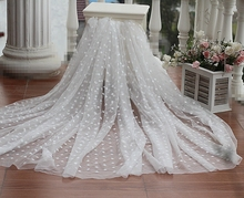 Free shipping Ivory  Embroidered Organza Lace Fabric, bridal lace fabric  tulle mesh embroidered wedding lace