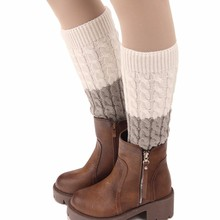 Women Ladies Winter Crochet Knit Leg Warmers Leggings Boot Spell Color New(China)