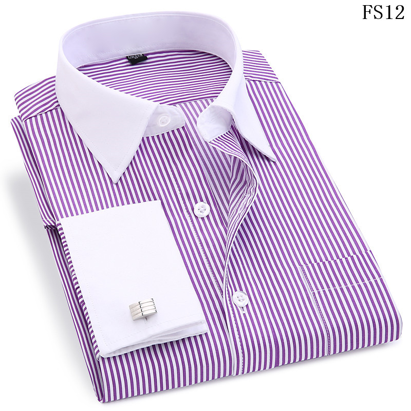 Men French Cufflinks Shirt 19 New Men's Stripes Shirt Long Sleeve Casual Male Brand Shirts Slim Fit French Cuff Dress Shirts 8