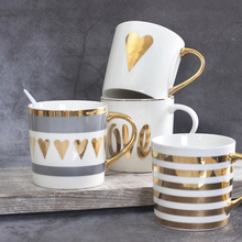Best Fine Flawless Ceramic Coffee Cups and Mugs Gold Painting Porcelain Water Mug para cafe Amoureux Love Gift Drinkware Tools(China)