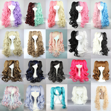 MCOSER Long  Charm Lolita Brown /pink /black /blue mixed Curly Cosplay wig+ 2Clips on Ponytail 19 Colors