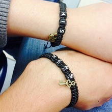 2 Pcs His Lock Hers Key Braid Couple Bracelets Gift Lovers' Bangles(China)