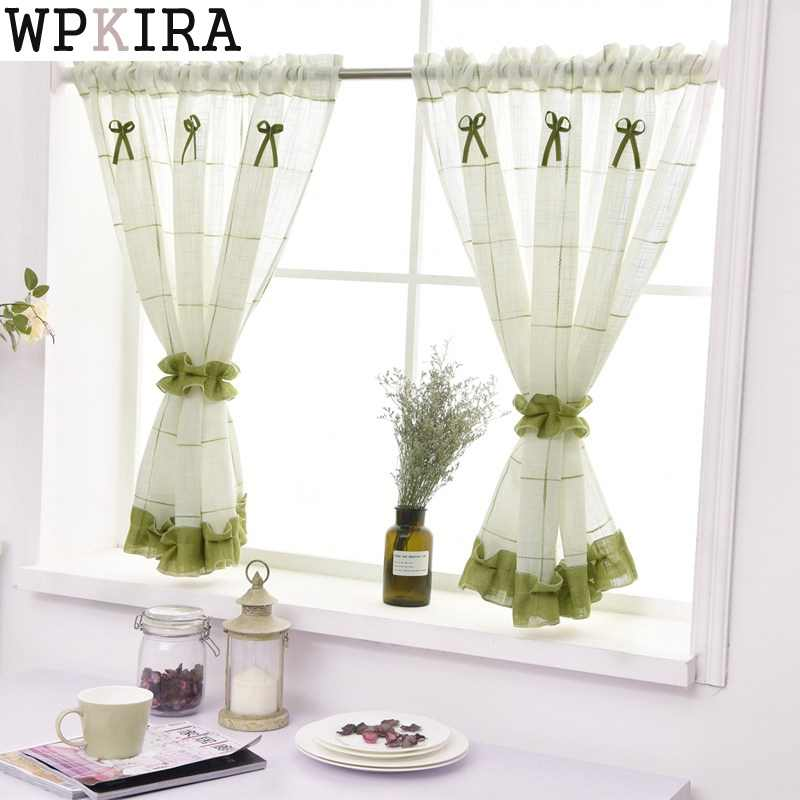 Plane lattice Curtains for the Kitchen Pastoral Flower Pattern Window Decoration Sheer Short Curtain Panel  DL013&20