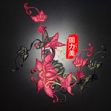 1 Piece 4 color Beautiful DIY Embroidery large Flower butterfly Applique Iron On Patch for Clothing Sticker Garment Accessories(China)
