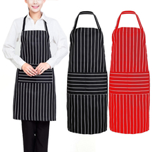 New Apron Women Men Plain Stripe Kitchen Polyester Aprons with Front Pocket Chefs Butchers Cooking Baking Cleanning Red Black