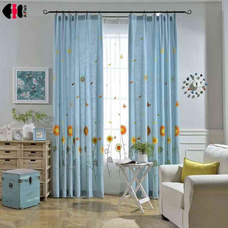 Embroidered Sunflower Curtains Blue Panel Design Kid Children Bedroom Drapes Pastoral Fresh Style Window Decoration WP298C