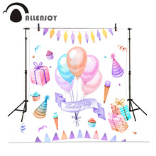 Hand painted birthday decoration Photography Background Dream balloons gift ice cream baby photo backdrops childern photo(China)