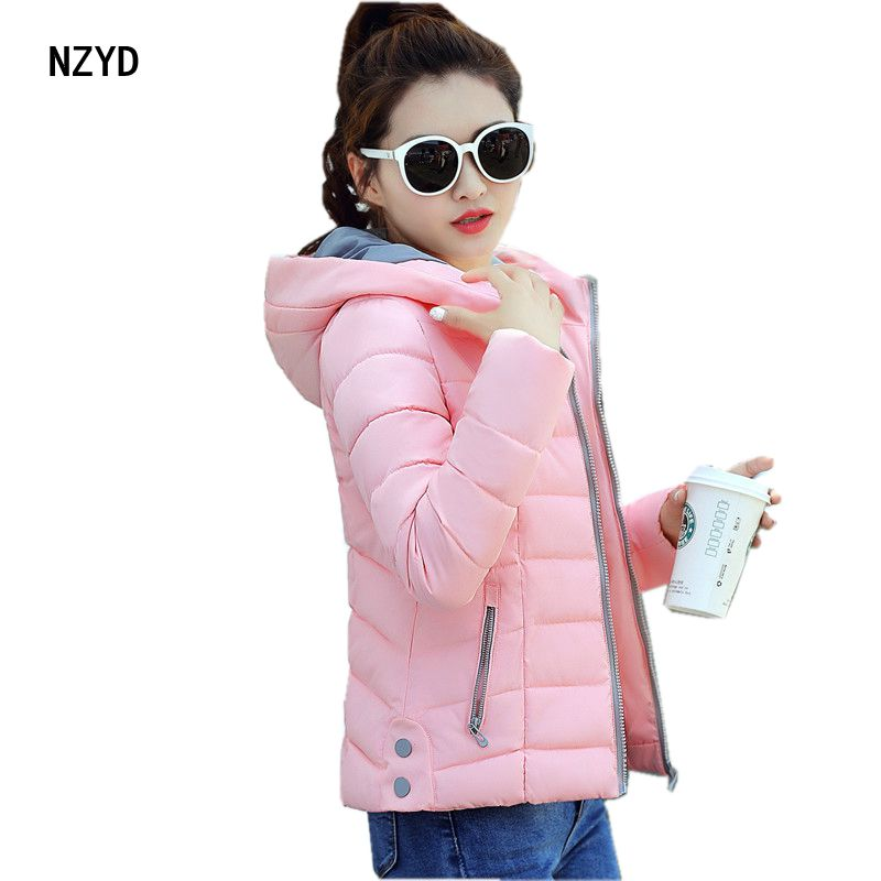 Winter Women Short Jacket 2017 New Fashion Hooded Warm Down Cotton Coat Casual Patchwork color Slim Big yards Parkas LADIES274Îäåæäà è àêñåññóàðû<br><br>