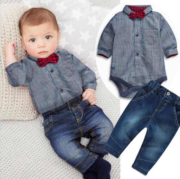 2017 new gray Gentleman rompers shirts +Red plaid bow+jeans 2pcs baby sets. baby boys clothes bebe clothing set free shipping<br><br>Aliexpress