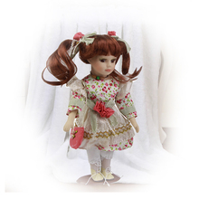 12'' Porcelain Dolls Girl with Long Curls Hair Lovely Fashion Princess Model Ceramic Doll Toy Home Decoration Kits Gift