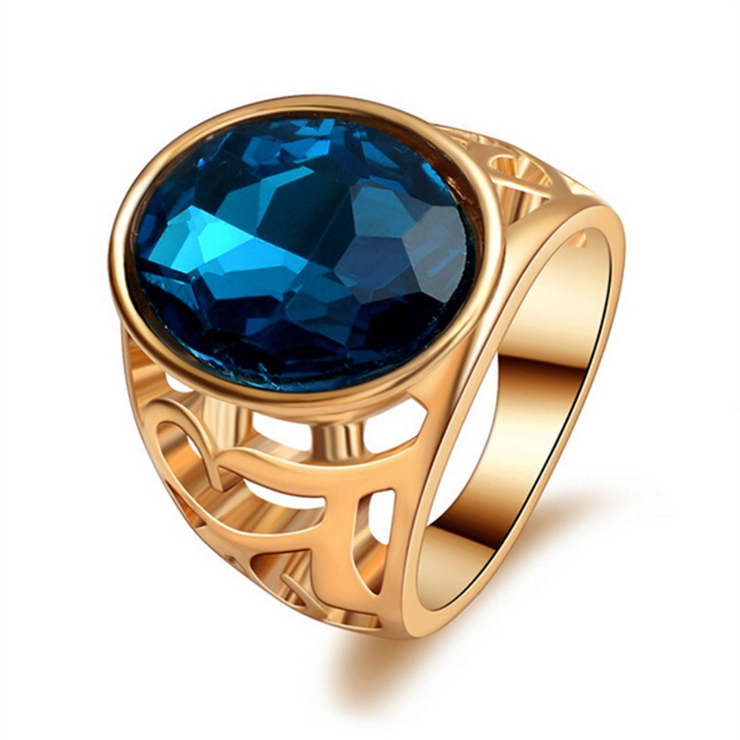 Luxury Gold Hollow Band Ring Trendy Blue Stone Geometric Metal Finger Ring Shellhard Women Bridal Jewelry Gift bisuteria mujer
