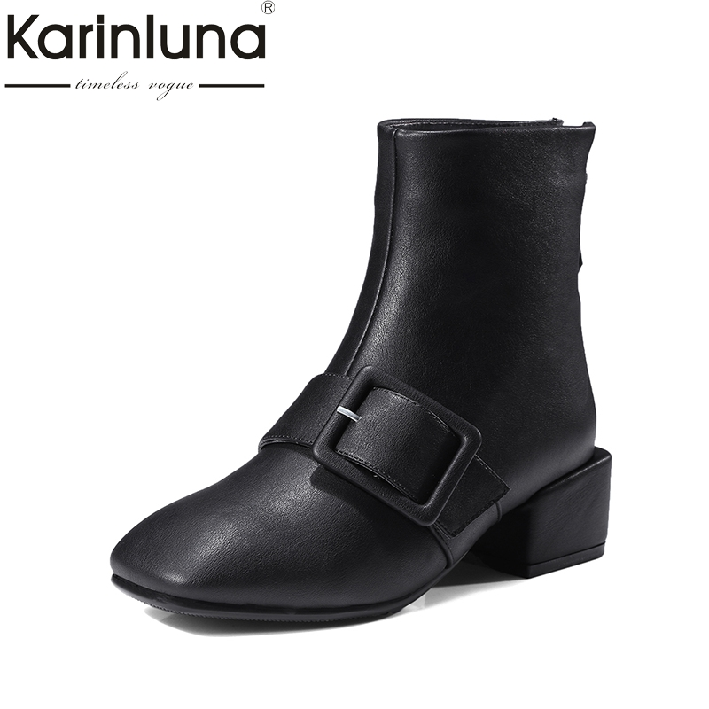 KARINLUNA Large Size 32-42 Fashion Square Toe Women Shoes Woman Med Heels Zip Up Ankle Boots Black Martin Boots Buckle<br>
