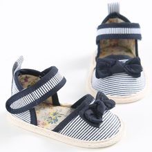 2017 Baby shoes High Quality sandals Hot Selling New Baby Girls Shoes Summer stripe Bow cotton Toddler Princess Soft Sole 0-18M