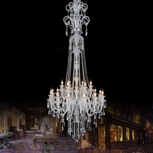 H2.1M large Led candle holder chandelier crystal light for villa hotel church extra Long stair light chandelier Led candelabro(China)