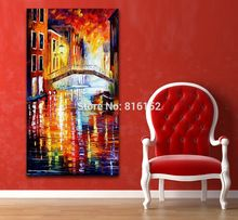 Venice City Italy European Building Bridge Palette Knife Printed on Canvas Painting Wall Picture for Living Room Home Decoration
