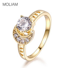 MOLIAM Female Light Blue/White Stone Finger Ring 2017 Trendy Jewelry Cubic Zirconia Moon Design Rings For Women MLR360/MLR361(China)