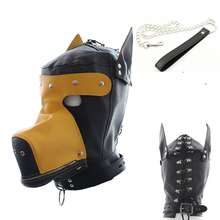 Buy camaTech PU Leather Full Head Dog Harness Fetish SM Dog Headgear Fully Enclosed Dog Bondage Hood Mask Chain Leash Sex Toys