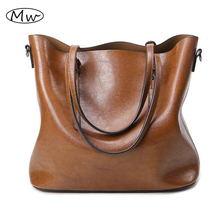 2016 Autumn Fashion Women Leather Handbags Large Capacity Tote Bag Oil Wax Leather Shoulder Bag Crossbody Bags For Women M376