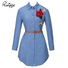 RUIYIGE 2017 Spring plus size tees tops ladies new long sleeve jeans blouse blusa embroidered flowers femininas shirts with Belt(China)