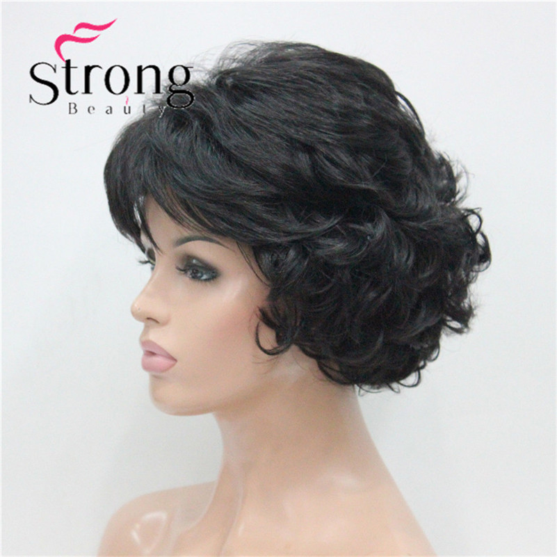 E-7125 #2New Wavy Curly Off Black Wig Short Synthetic Hair Full Women's Wigs For Everyday (4)