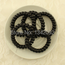 100pcs/lot BLACK 5CM Telephone Wire Plastic Hair Band Hair Ties Hair Elastic Ponytail Holder Hair Accessories Bracelets(China)