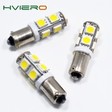 High Quality 2pcs White Car Led Ba9s T4w 9 Smd 5050 Led Auto License Plate Light Door Bulb Trunk light Marker Gauge Lamps Dc 12v(China)
