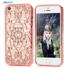Luxury Case For iPhone 5 5S Glitter 3D Diamond Plating Clear Transparent Bling Silicone Soft TPU Back Cover For iPhone5 5S SE