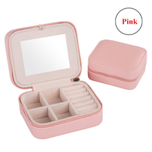 Fashion Women's Mini Jewelry Box Travel Makeup Organizer Faux Leather Casket  With Zipper Cheap Classic Style Jewellery Case
