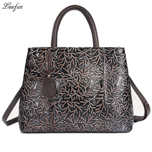 Vintage genuine leather women handbag casual embossed leather A4 shoulder bag cow leather iPad ladies messenger bag work tote