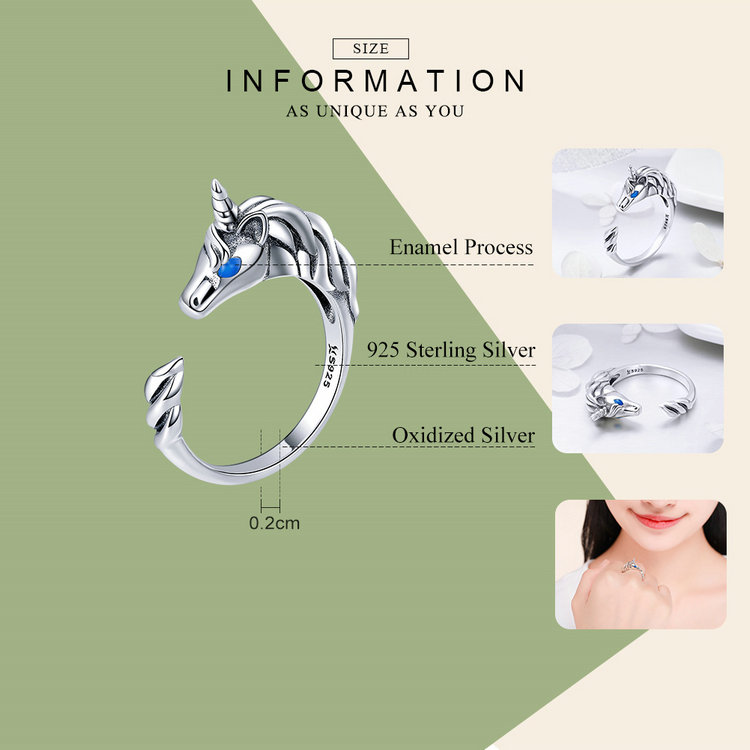 925 Sterling Silver Unicorn Ring