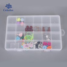 22 Fixed Grid + 2 Adjustable Grid Transparent Jewelry Storage Box Case Bead Rings Box Display Organizer Travel Bins