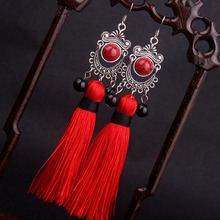 Big star traditional Miao silver Fringes tassel dangle earrings red , New Chinese wind Ethnic earrings jewelry red(China)