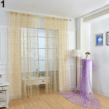 Romantic Floral Vine Voile Tulle Door Window Curtain Panel Drape Sheer Valances