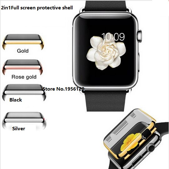 Full screen ultra-thin protective shell Electroplate Metal Plated Hard Case Cover for Apple Watch 38mm42mm with Screen Protector<br><br>Aliexpress