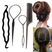 1Set=4Pcs Girls Hair Braiding Tool Twist Styling Hair Clip Stick Bun Meatball Head Maker Comb Hair Pull Pin Hairdressing Tools