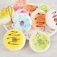 Wholesale 5cm Cute Soft Squishy Jumbo Mini Donut Charming Phone Strap Simulation Food Cell Phone Strap Decor Random Color