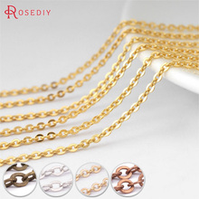 (8470)5 Meters Chain width:1MM 1.5MM 2MM 2.8MM Copper Flat Oval Shape Chains Oval Link Necklace Chain Diy Jewelry Accessories(China)
